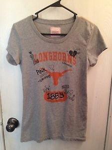 Victoria's Secret PINK Longhorns T-shirt Size L ~ Gray~