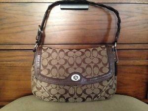 #H0769-11014 COACH Brown Genuine Leather Trim Signature Handbag