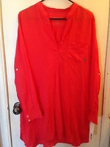 NWT DKNY Red/Orange Blouse Size M