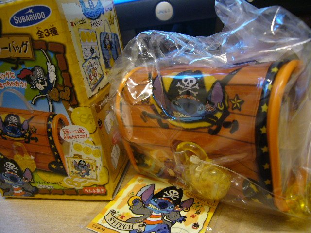 Japan Disney Stitch Small Jewelry Bag w/ Lock & Stickers Kawaii