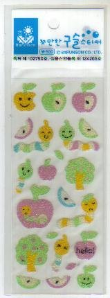 Korea Apple w/ Worm Beads Sticker KAWAII