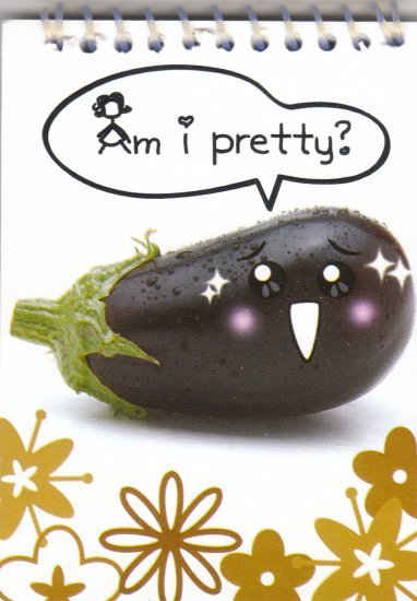 "Eggplant ""Am I pretty?"" Small Notebook Kawaii"