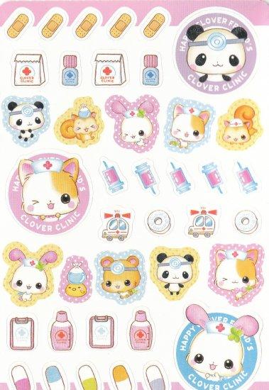 Japan Q-Lia Animals Clover Clinic w/ Medicine Sticker KAWAII (B)