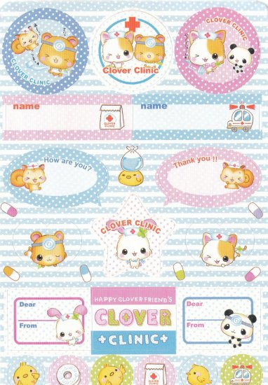 Japan Q-Lia Animals Clover Clinic w/ Medicine Sticker KAWAII (C)