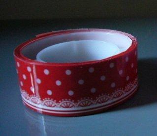 Japan Red Polka Dots w/ Lace Deco Tape KAWAII