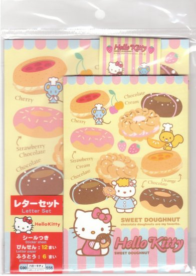 JAPAN Sanrio Hello Kitty Sweet Doughnut Lettersets Pack + Sticker KAWAII