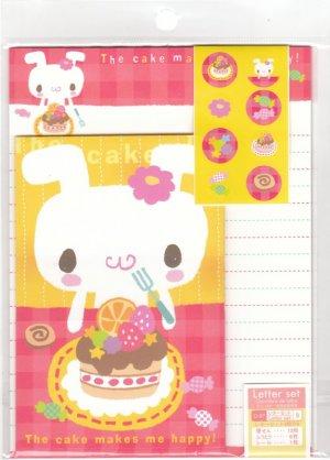 JAPAN Rabbit Cake Lettersets Pack + Sticker KAWAII