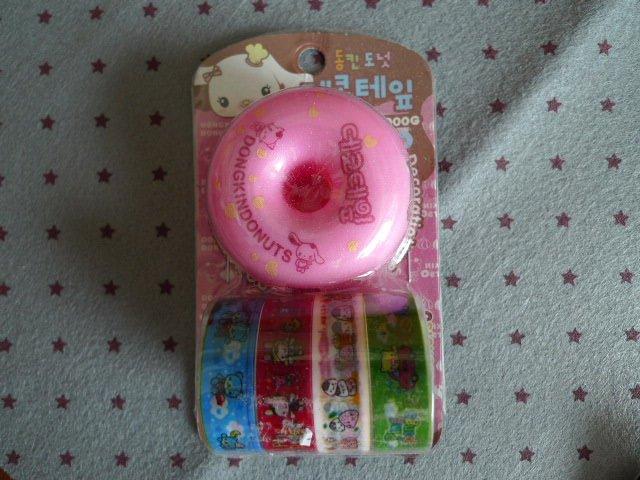 Korea Pink Donuts Dispenser and  4 Deco Tapes Set KAWAII