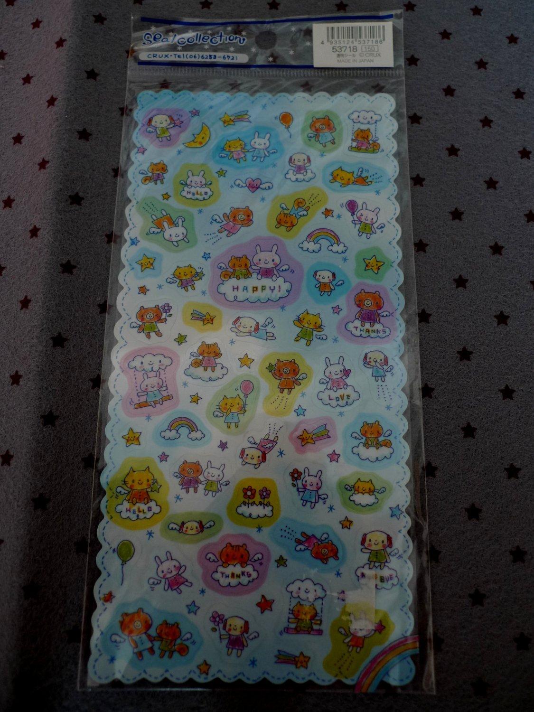 Japan Cru-x Animal Angel Colour Transparency Sticker KAWAII