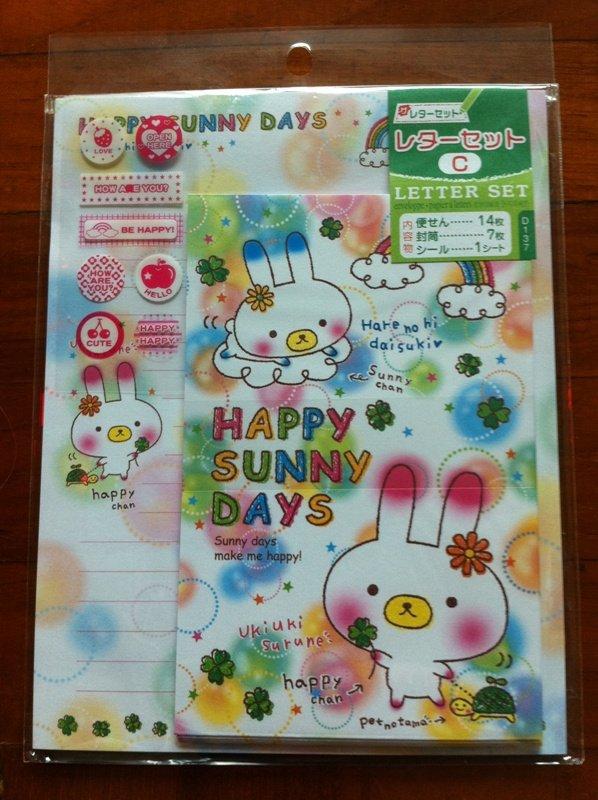JAPAN Happy Sunny Days Rabbit Lettersets Pack + Sticker KAWAII