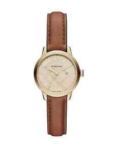 Auth BURBERRY Women's Round Leather Tan Strap Watch 32mm Orig $795 NEW IN BOX