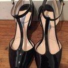 Prada Black Patent Leather T Strap Peep Toe Mary Jane Pumps Heels Size 36 / US 6