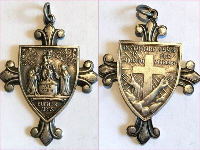 X Large Signed Antique Cross Medal Angels Ave Maria Saint Dominic Virgin Mary Our lady of the Rosary