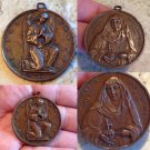 Rare Large Bronze Antique Signed Holy Medal 1800's Angel Virgin Mother Mary Immaculate Sacred Heart