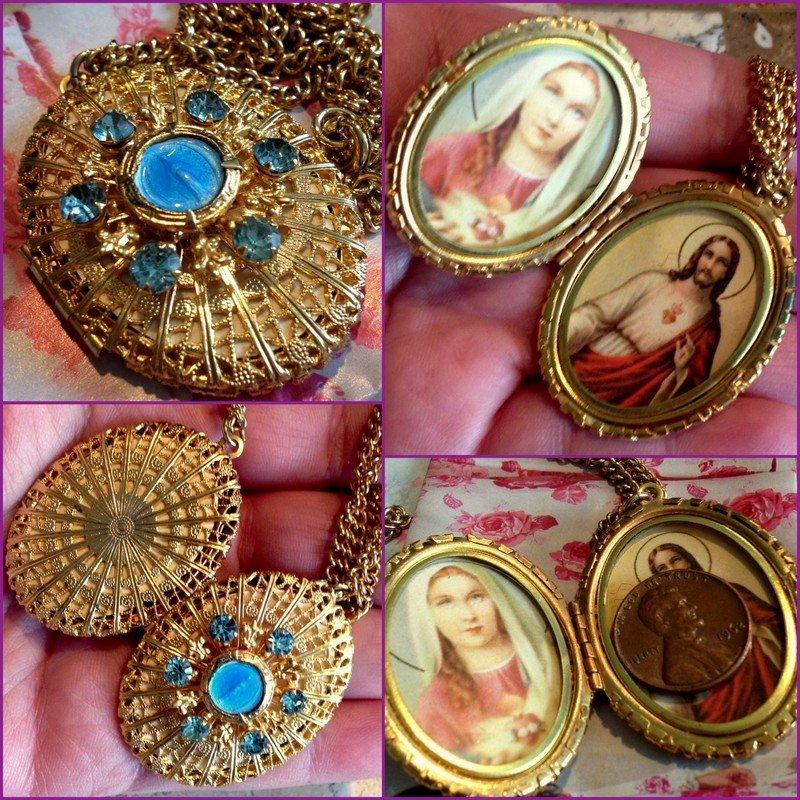 Vintage Filigree Locket Shrine Necklace Blue Rhinestone Miraculous Medal Reliquary Virgin Mary Jesus