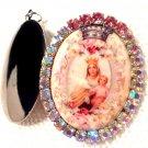 Large Virgin Mary Pink AB Rhinestone Locket Porcelain Cameo Madonna and Child Jesus Pendant Jewelry