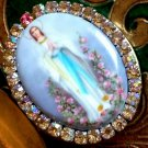 Large Our Lady of Lourdes Porcelain Cameo Rhinestone Locket Prayer box Religious Jewelry