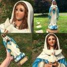 "Vintage Beautiful Virgin Mary Statue GLASS EYES Long Eyelashes Blessed Mother Holy Spirit 15"""