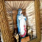Antique 1889 Gilt Frame Blessed Mother Virgin Mary Shrine Statue Shadow box With Prayer