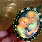 Unique Catholic Jewelry St. Joseph Jesus Rhinestone Cameo Locket Saint Pendant Prayer Petition