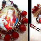 Red Rhinestone Madonna and Child Prayer Petition Beads Cameo Locket Vintage OOAK Catholic Pendant