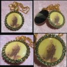 "1.5"" Peridot Rhinestone St. Jude Cameo Locket Prayer Petition Pendant 22"" Necklace OOAK"