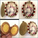 "2"" Vintage Large Jesus King of Heaven Christian Prayer Locket Cameo Shrine Pendant Rhinestone"
