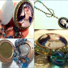 "2"" Vintage Upcycled Rhinestone Cameo Locket Prayer Petition Beads Blessed Mother Virgin Mary"