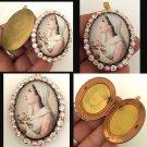 "2"" Large Vintage Mystical Rose Virgin Mary Pink Rhinestone Glass cameo locket Prayer Pendant"