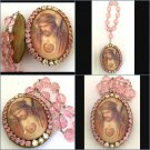 "2"" Pink Rhinestone Sacred Heart Jesus Pendant Cameo Locket w/ Prayer Petition Beads Crown of Thorns"