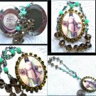 Vintage Rhinestone Jesus Christ Divine Mercy Prayer Petition Cameo Locket Glass Beads Shrine Pendant