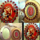 "2"" Large Madonna & Child Red Rhinestone Porcelain Cameo Locket Virgin Mary Prayer Petition Pendant"