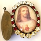 Catholic Jewelry Large Vintage Rhinestone Sacred Heart of Jesus Cameo Locket Pendant Prayer Petition