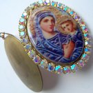 Large Mother Mary Jesus Icon Porcelain Cameo Locket AB Rhinestone Shrine Prayer Petition pendant