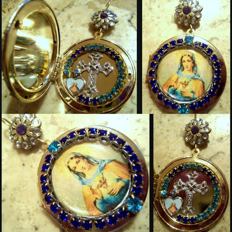 Blue Rhinestone Shrine Cameo Locket Virgin Mary Immaculate Pendant Prayer Petition Catholic Jewelry