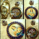 Blue Rhinestone Shrine Cameo Locket Virgin Mary Immaculate Pendant Prayer Petition Catholic Jewelry