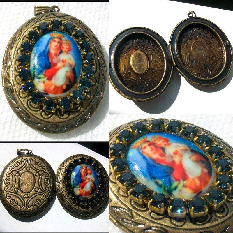 Large Rhinestone Locket Porcelain Cameo Madonna and Child Virgin Mary Jesus Catholic Prayer Pendant