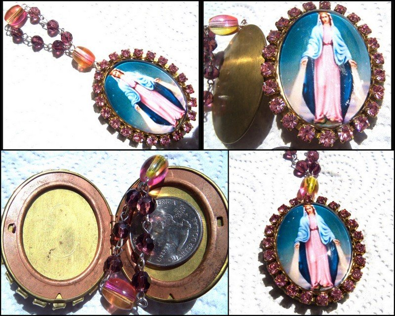 Our Lady of Grace Pink Rhinestone Cameo Locket Prayer Request Beads Virgin Mary Vintage Catholic