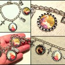 Handcrafted Catholic Charm Bracelet Madonna Child Jesus, Virgin Mary Immaculate, Cross