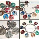 Catholic Enamel Charm Bracelet 9 Medals Divine Mercy, St. Jude, St. Anthony Padre Pio, Virgin Mary,