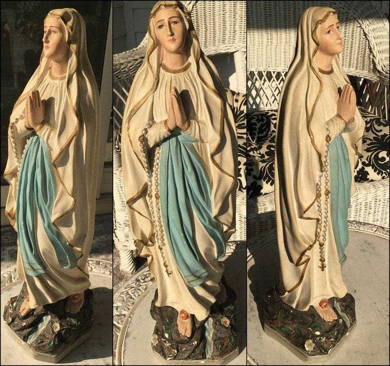 """1917 French Art Nouveau Plaster Statue Our Lady of Lourdes Virgin Mary Blessed Mother 17"""" Catholic"""