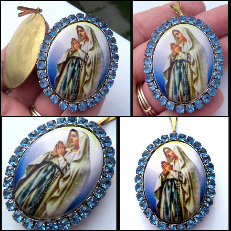 Large Our Lady of Lourdes Porcelain Cameo Blue Rhinestone Locket  Virgin Mary Pendant Prayer Box