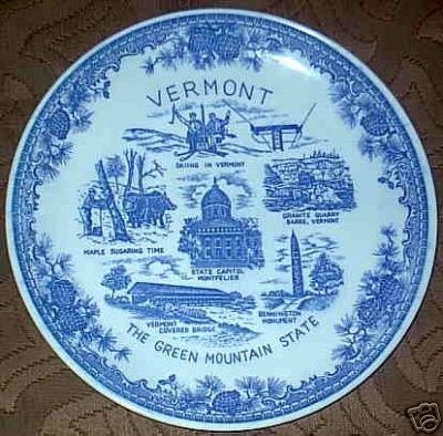 The Green Mountain State Vermont Blue White Plate