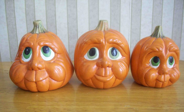 Three Vintage Ceramic Hand Painted Jack-O-Lanterns