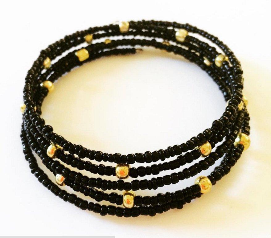 Starry Night Bracelet, Black & Gold