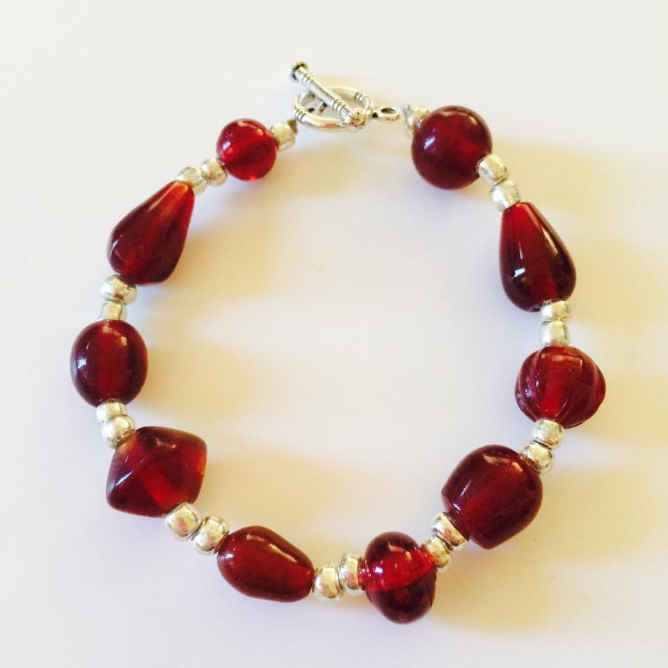 Pebble Beach Bracelet with Ruby Stones