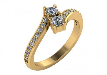 1/2CT Two-Stone Diamond Bypass Ring in 14K Yellow Gold Size 5.5