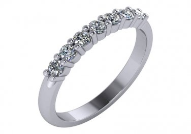 1/3rd Carat Seven Stone Diamond Wedding Ring Anniversary 14k White Gold Size 4.5