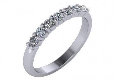 1/3rd Carat Seven Stone Diamond Wedding Ring Anniversary 14k White Gold Size 7.5