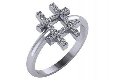 "1/4 Carat Genuine Diamond Hashtag ""#"" Ring In 14kt White Gold Size 6.5"